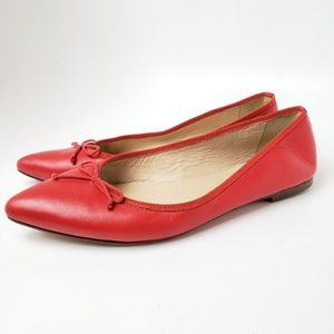 JCrew Preppy Red Leather Pointed Toe Flat